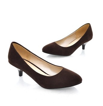 Brown Kitten Heels - Qu Heel