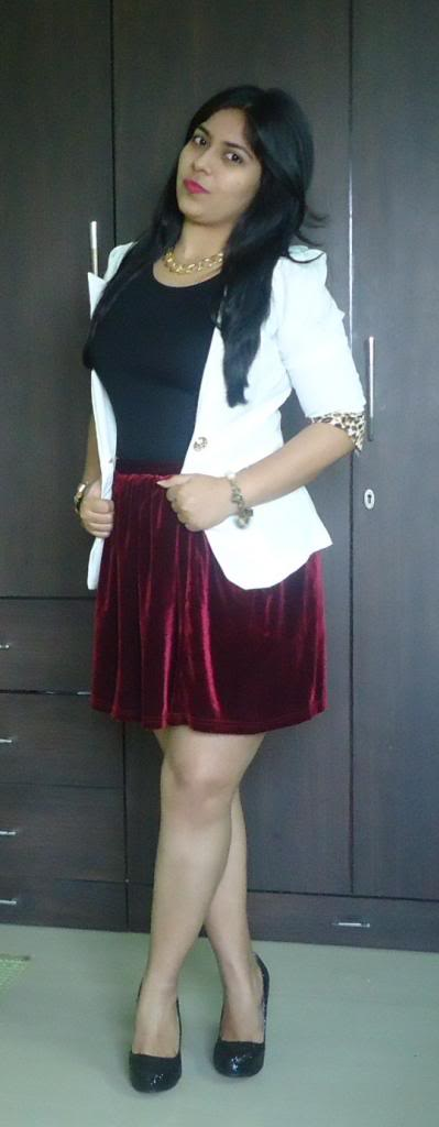OOTD: White Blazer, Oxblood Skirt