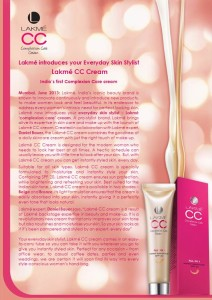 lakme cc cream 212x300 New Launches: Lakme CC Cream, Sunsilk Radiant Shine