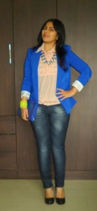 OOTD: Peach Lace Blouse, Blue Denims