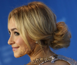 messy chignon bun hayden panettiere 300x252 Hairstyles for the Festive Season