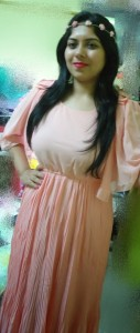 DSC083991 127x300 OOTD: Coral Pleated Dress, Leather Jacket