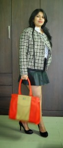 DSC085311 128x300 OOTD: Polka Dot Shirt, Tweed Jacket, Toteteca Bag