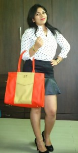 Outfit: Polka Dot Shirt, fashion blogger, leather panel skirt, toteteca bag