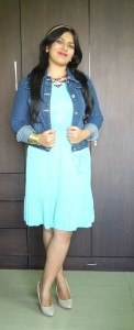DSC088811 122x300 OOTD: Mint Pleated Dress, Denim Jacket